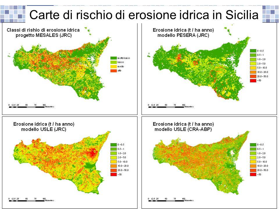 Carte di rischio di erosione idrica in Sicilia