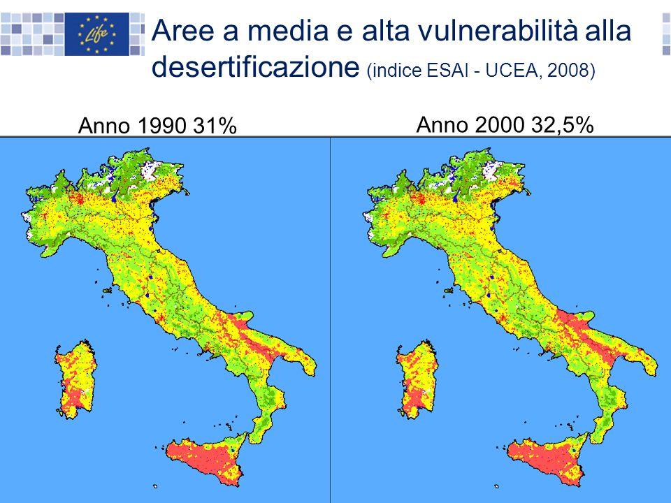 Anno 2000 32,5% Aree a media e alta vulnerabilità alla desertificazione (indice ESAI - UCEA, 2008) Anno 1990 31%