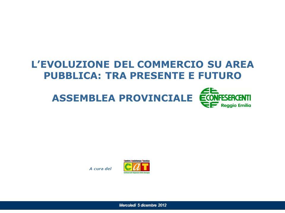 A cura del Mercoledì 5 dicembre 2012 LEVOLUZIONE DEL COMMERCIO SU AREA PUBBLICA: TRA PRESENTE E FUTURO ASSEMBLEA PROVINCIALE