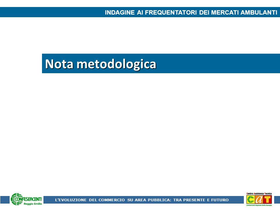 Nota metodologica INDAGINE AI FREQUENTATORI DEI MERCATI AMBULANTI LEVOLUZIONE DEL COMMERCIO SU AREA PUBBLICA: TRA PRESENTE E FUTURO
