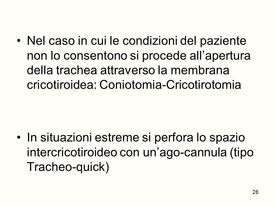Nel caso in cui le condizioni del paziente non lo consentono si procede allapertura della trachea attraverso la membrana cricotiroidea: Coniotomia-Cri
