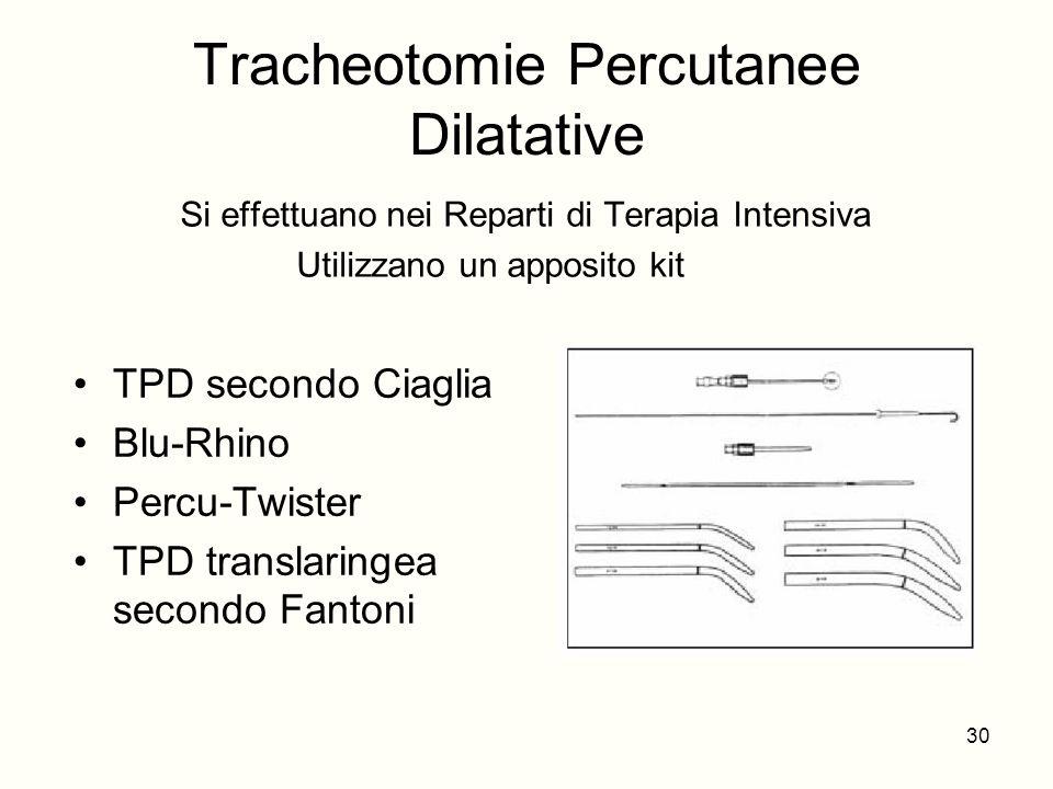 Tracheotomie Percutanee Dilatative TPD secondo Ciaglia Blu-Rhino Percu-Twister TPD translaringea secondo Fantoni Si effettuano nei Reparti di Terapia
