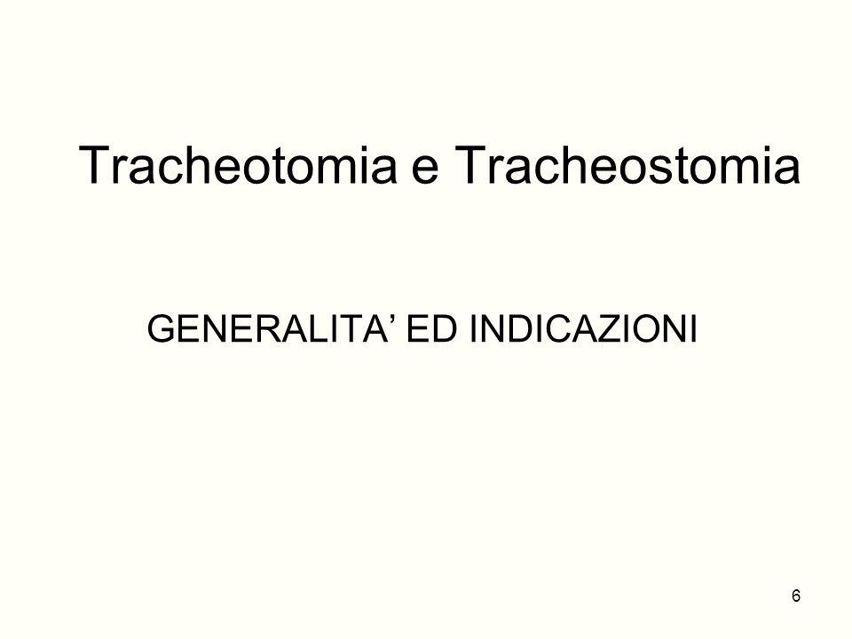 Tracheotomia e Tracheostomia GENERALITA ED INDICAZIONI 6