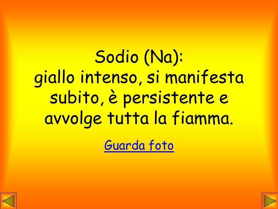 Sodio (Na): giallo intenso, si manifesta subito, è persistente e avvolge tutta la fiamma. Guarda foto