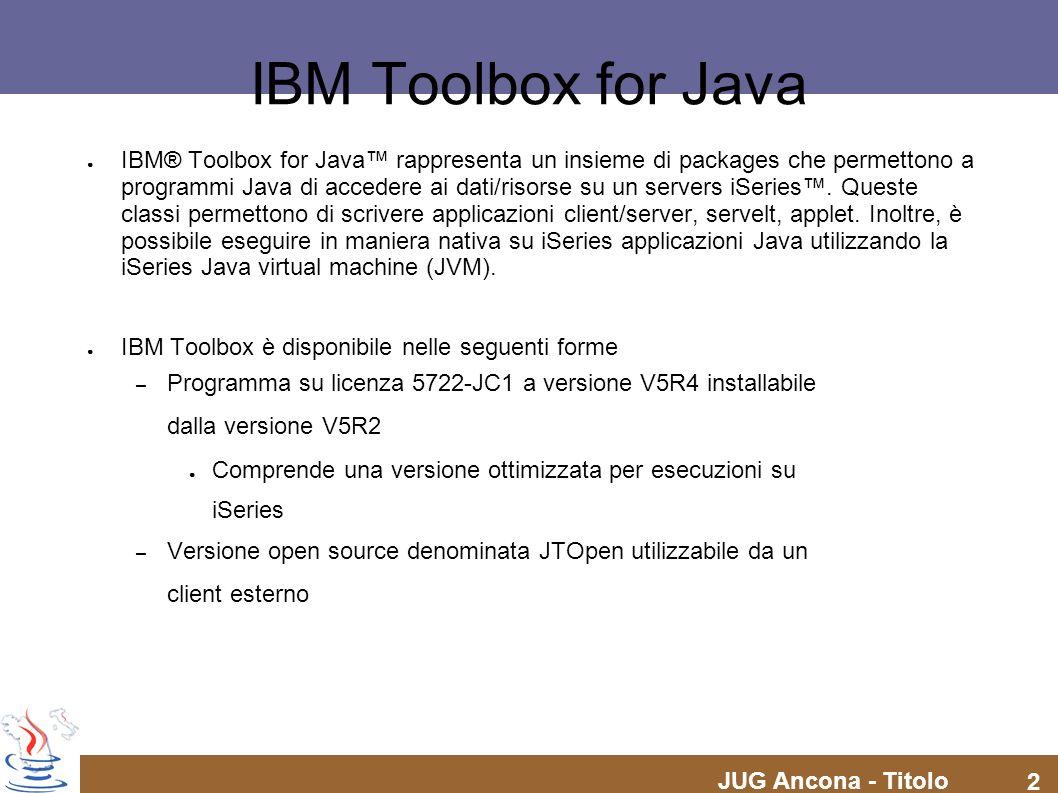 JUG Ancona - Titolo 23 IBM Toolbox for Java Access package – Print Per stampe si intende linsieme di oggetti iSeries formati da files di spool, code di output, stampanti, printer files.
