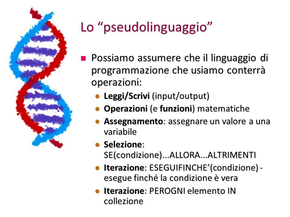 Lo pseudolinguaggio Possiamo assumere che il linguaggio di programmazione che usiamo conterrà operazioni: Possiamo assumere che il linguaggio di progr