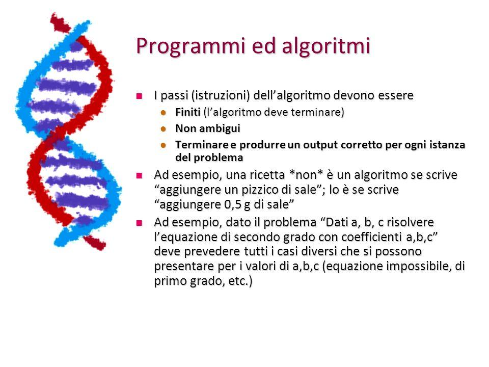 Programmi ed algoritmi I passi (istruzioni) dellalgoritmo devono essere I passi (istruzioni) dellalgoritmo devono essere Finiti (lalgoritmo deve termi
