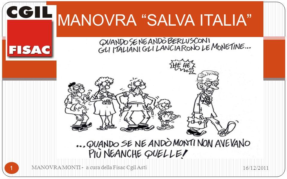 MANOVRA SALVA ITALIA MANOVRA MONTI - a cura della Fisac Cgil Asti 1 16/12/2011