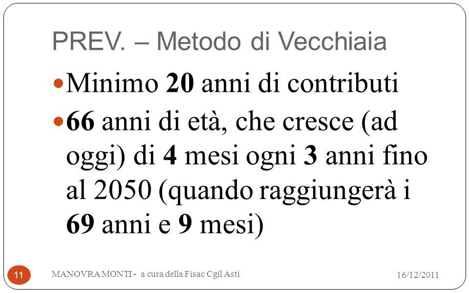 PREV. – Metodo di Vecchiaia Minimo 20 anni di contributi 66 anni di età, che cresce (ad oggi) di 4 mesi ogni 3 anni fino al 2050 (quando raggiungerà i