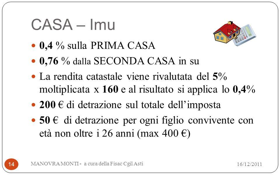 CASA – Imu 0,4 % sulla PRIMA CASA 0,76 % dalla SECONDA CASA in su La rendita catastale viene rivalutata del 5% moltiplicata x 160 e al risultato si applica lo 0,4% 200 di detrazione sul totale dellimposta 50 di detrazione per ogni figlio convivente con età non oltre i 26 anni (max 400 ) MANOVRA MONTI - a cura della Fisac Cgil Asti 14 16/12/2011