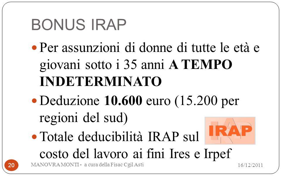 BONUS IRAP Per assunzioni di donne di tutte le età e giovani sotto i 35 anni A TEMPO INDETERMINATO Deduzione 10.600 euro (15.200 per regioni del sud)