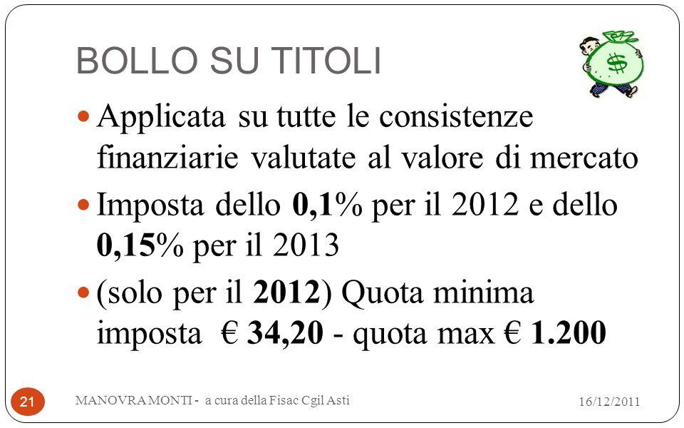 BOLLO SU TITOLI Applicata su tutte le consistenze finanziarie valutate al valore di mercato Imposta dello 0,1% per il 2012 e dello 0,15% per il 2013 (solo per il 2012) Quota minima imposta 34,20 - quota max 1.200 MANOVRA MONTI - a cura della Fisac Cgil Asti 21 16/12/2011
