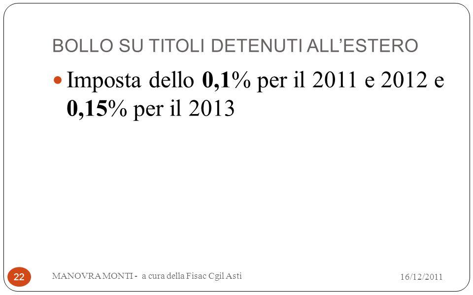 BOLLO SU TITOLI DETENUTI ALLESTERO Imposta dello 0,1% per il 2011 e 2012 e 0,15% per il 2013 MANOVRA MONTI - a cura della Fisac Cgil Asti 22 16/12/201