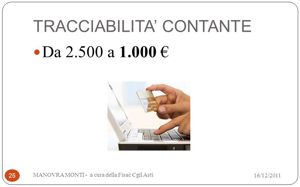 TRACCIABILITA CONTANTE Da 2.500 a 1.000 MANOVRA MONTI - a cura della Fisac Cgil Asti 25 16/12/2011