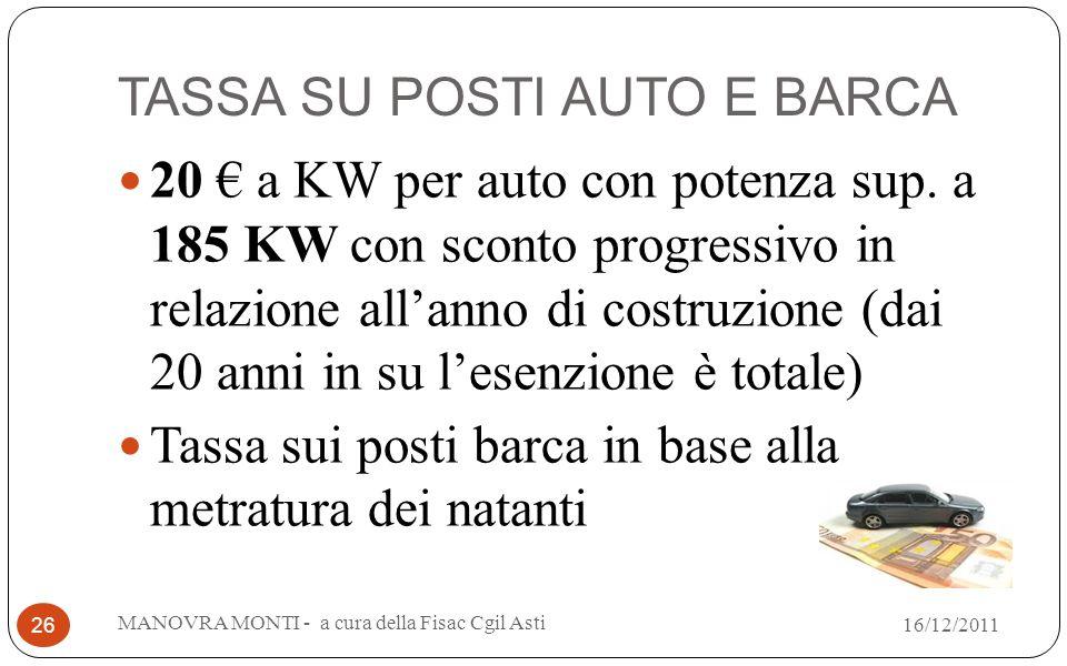 TASSA SU POSTI AUTO E BARCA 20 a KW per auto con potenza sup. a 185 KW con sconto progressivo in relazione allanno di costruzione (dai 20 anni in su l
