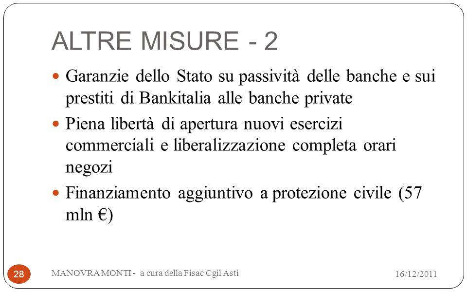ALTRE MISURE - 2 Garanzie dello Stato su passività delle banche e sui prestiti di Bankitalia alle banche private Piena libertà di apertura nuovi eserc