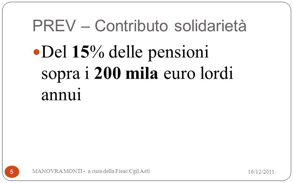 PREV – Contributo solidarietà Del 15% delle pensioni sopra i 200 mila euro lordi annui MANOVRA MONTI - a cura della Fisac Cgil Asti 5 16/12/2011