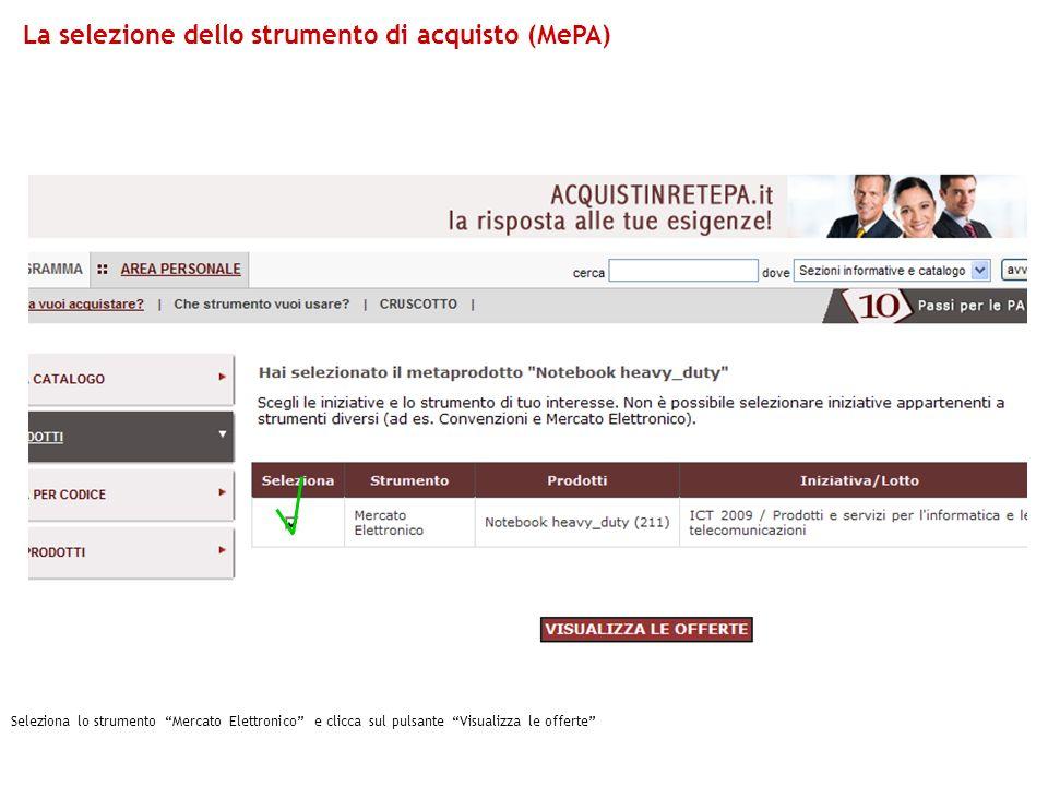 Seleziona lo strumento Mercato Elettronico e clicca sul pulsante Visualizza le offerte La selezione dello strumento di acquisto (MePA)