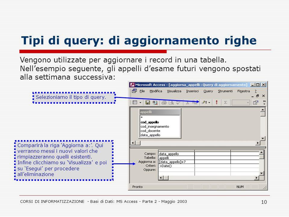 CORSI DI INFORMATIZZAZIONE - Basi di Dati: MS Access - Parte 2 - Maggio 2003 10 Tipi di query: di aggiornamento righe Vengono utilizzate per aggiornar
