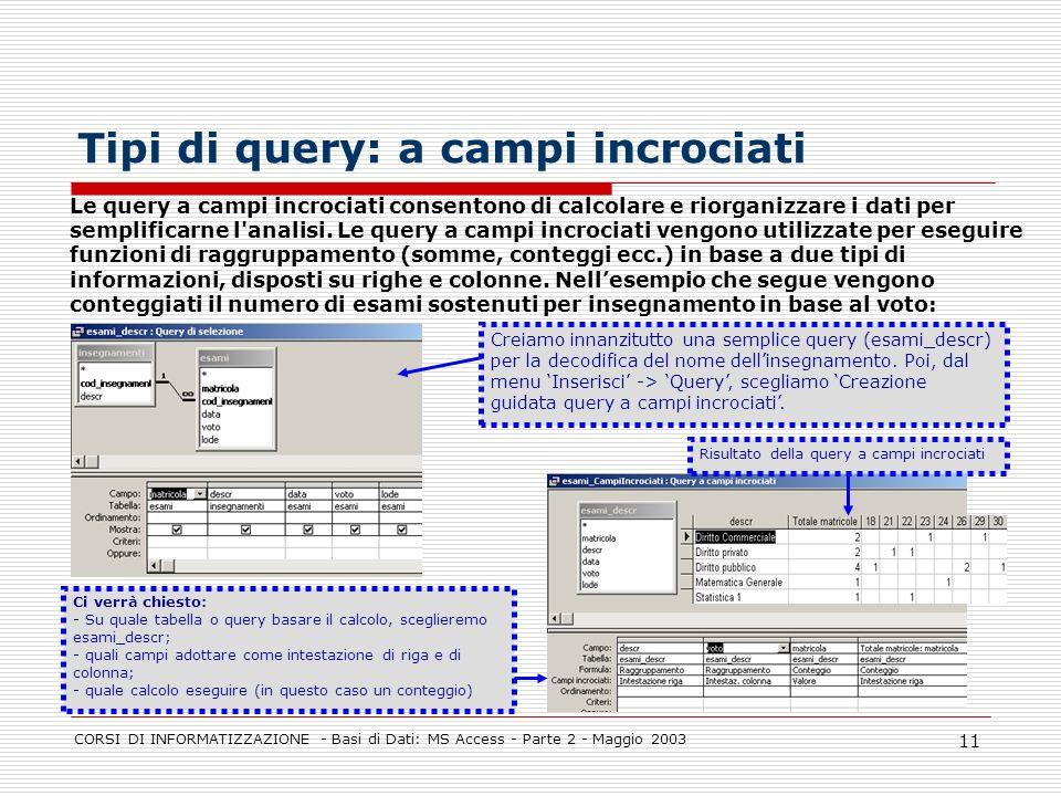 CORSI DI INFORMATIZZAZIONE - Basi di Dati: MS Access - Parte 2 - Maggio 2003 11 Tipi di query: a campi incrociati Le query a campi incrociati consento