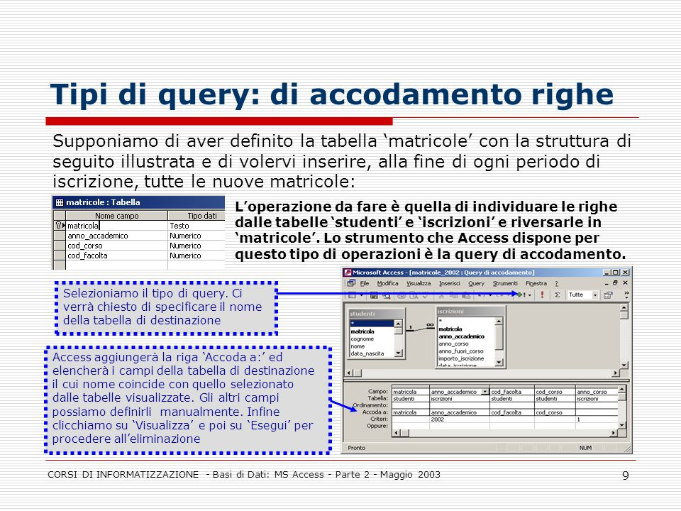 CORSI DI INFORMATIZZAZIONE - Basi di Dati: MS Access - Parte 2 - Maggio 2003 9 Tipi di query: di accodamento righe Supponiamo di aver definito la tabe