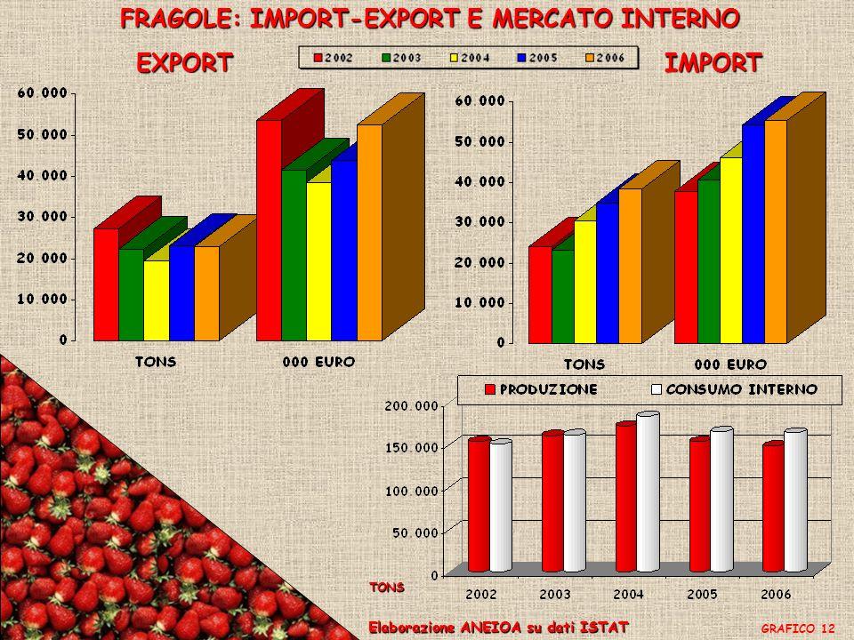 FRAGOLE: IMPORT-EXPORT E MERCATO INTERNO EXPORTIMPORT Elaborazione ANEIOA su dati ISTAT GRAFICO 12 TONS