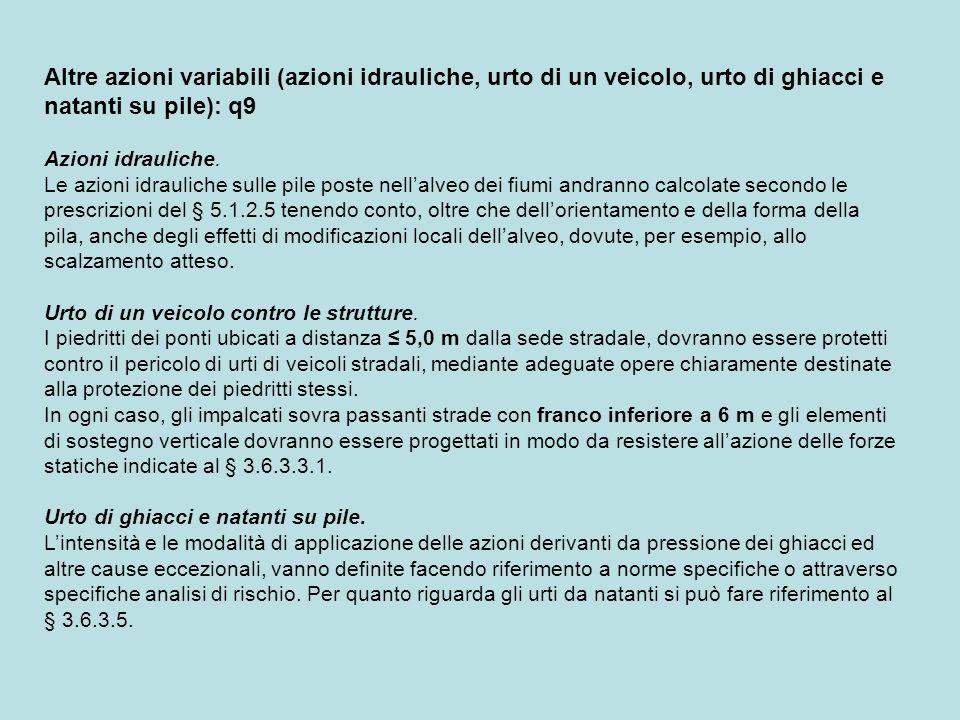 Combinazioni di Carico Le combinazioni di carico da considerare ai fini delle verifiche devono essere stabilite in modo da garantire la sicurezza in conformità a quanto prescritto al Cap.