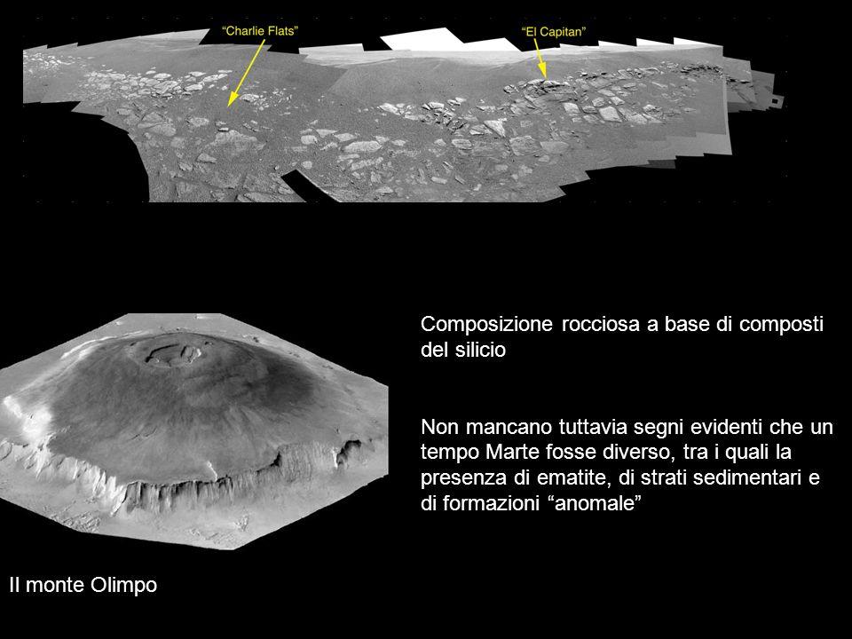 Il monte Olimpo Composizione rocciosa a base di composti del silicio Non mancano tuttavia segni evidenti che un tempo Marte fosse diverso, tra i quali