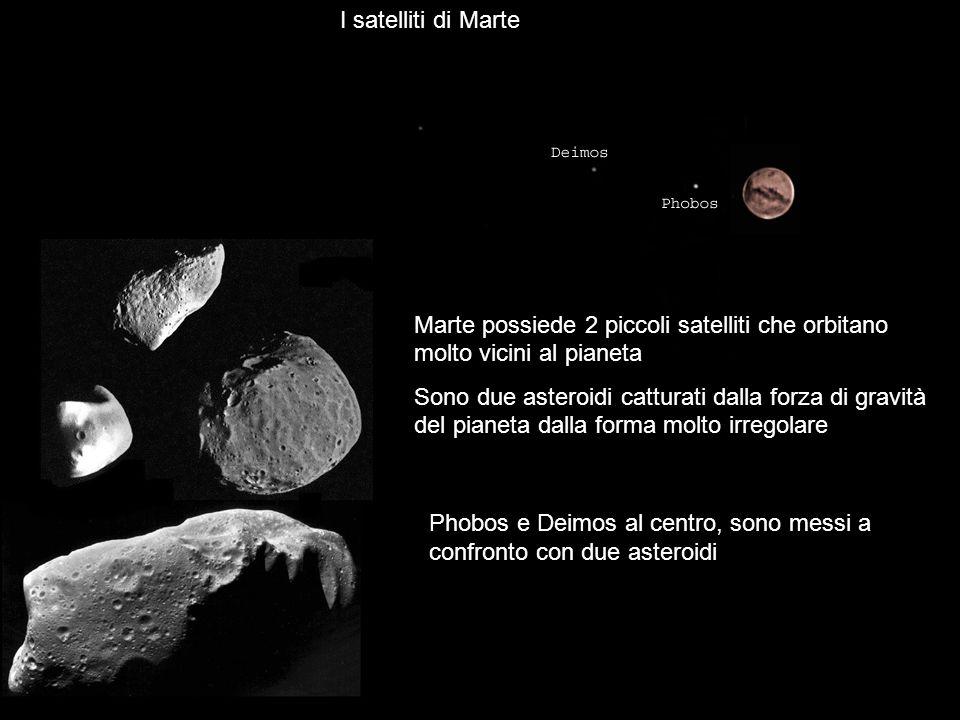 Marte possiede 2 piccoli satelliti che orbitano molto vicini al pianeta Sono due asteroidi catturati dalla forza di gravità del pianeta dalla forma mo