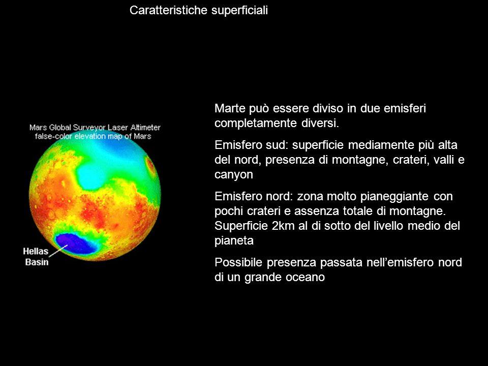 Caratteristiche superficiali Marte può essere diviso in due emisferi completamente diversi. Emisfero sud: superficie mediamente più alta del nord, pre