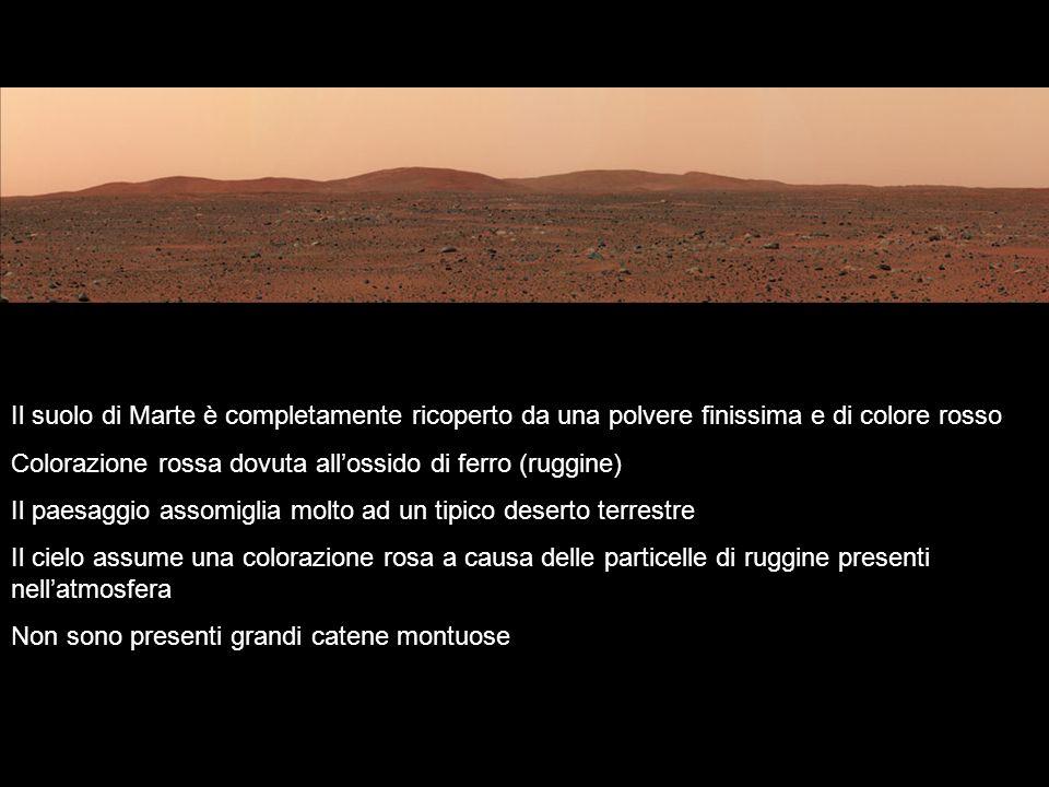 Il suolo di Marte è completamente ricoperto da una polvere finissima e di colore rosso Colorazione rossa dovuta allossido di ferro (ruggine) Il paesag
