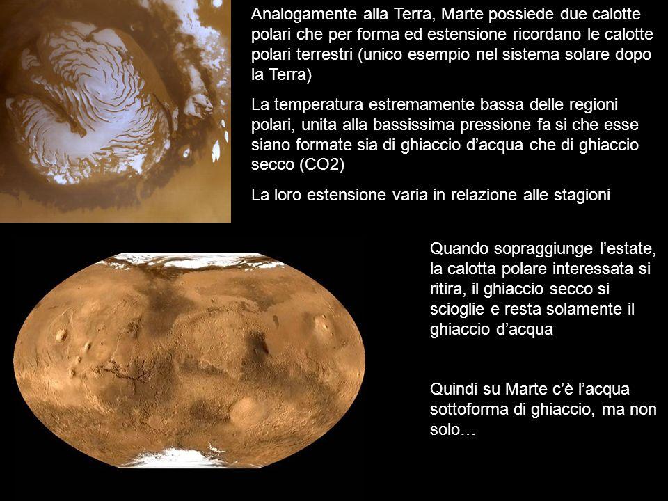 Analogamente alla Terra, Marte possiede due calotte polari che per forma ed estensione ricordano le calotte polari terrestri (unico esempio nel sistem