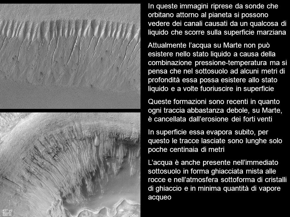 In queste immagini riprese da sonde che orbitano attorno al pianeta si possono vedere dei canali causati da un qualcosa di liquido che scorre sulla su