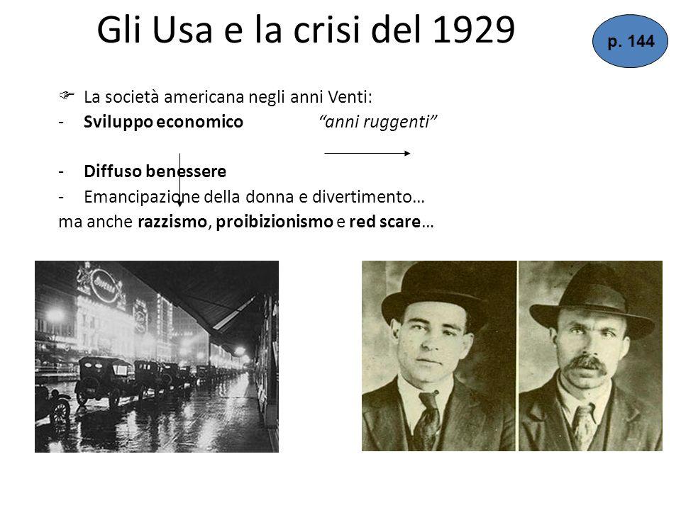 Gli Usa e la crisi del 1929 La società americana negli anni Venti: -Sviluppo economico anni ruggenti -Diffuso benessere -Emancipazione della donna e divertimento… ma anche razzismo, proibizionismo e red scare… p.