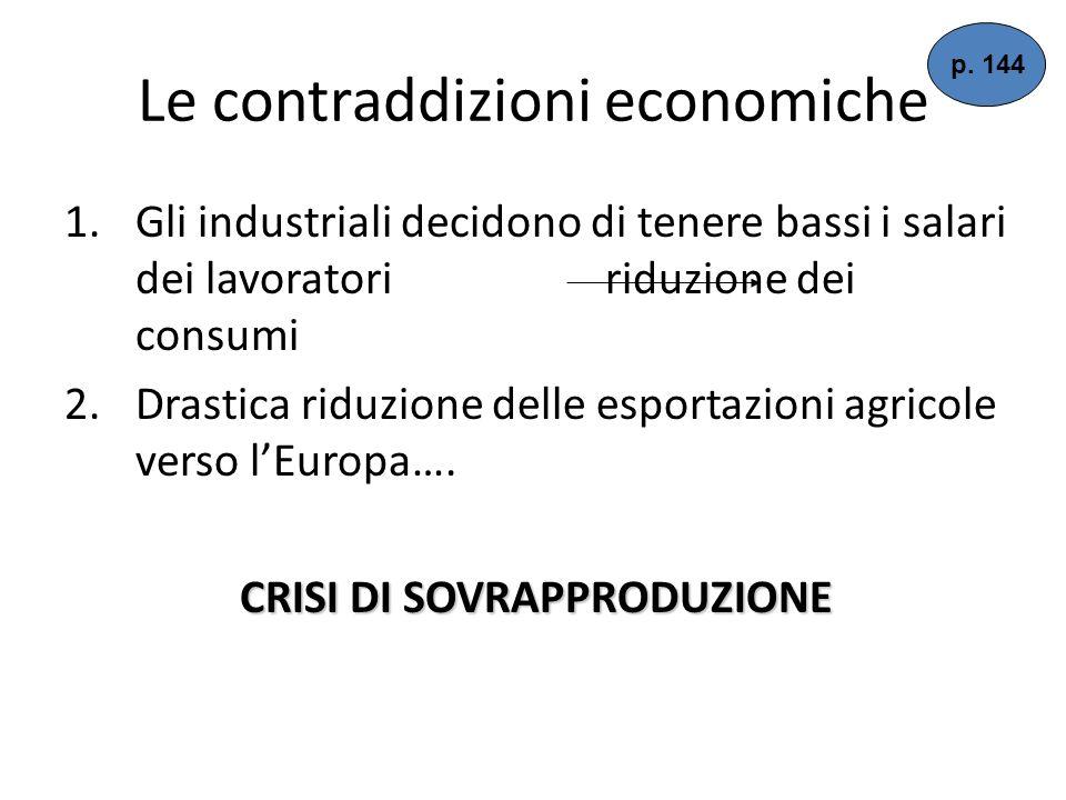 Le contraddizioni economiche 1.Gli industriali decidono di tenere bassi i salari dei lavoratori riduzione dei consumi 2.Drastica riduzione delle esportazioni agricole verso lEuropa….