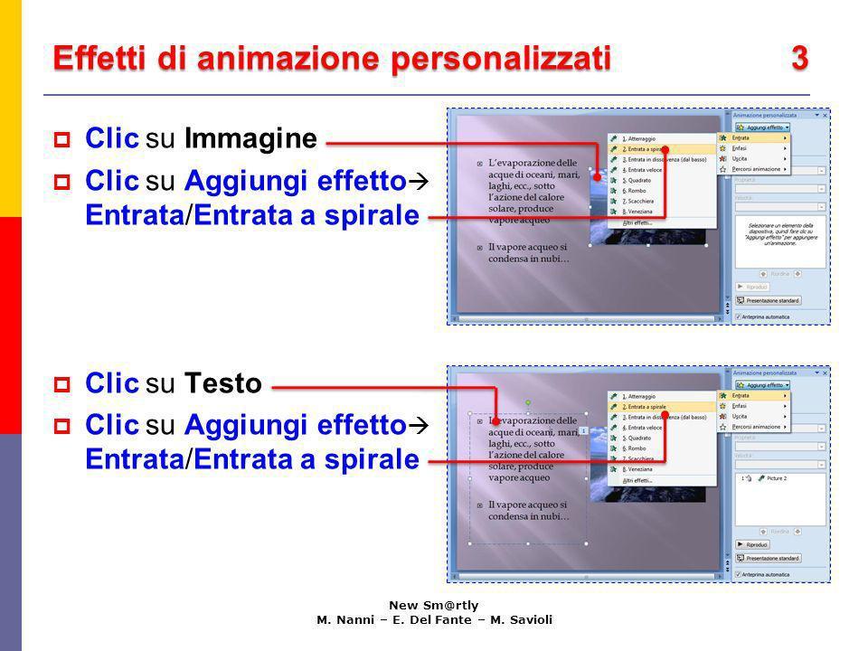 Effetti di animazione personalizzati 3 New Sm@rtly M. Nanni – E. Del Fante – M. Savioli Clic su Immagine Clic su Aggiungi effetto Entrata/Entrata a sp