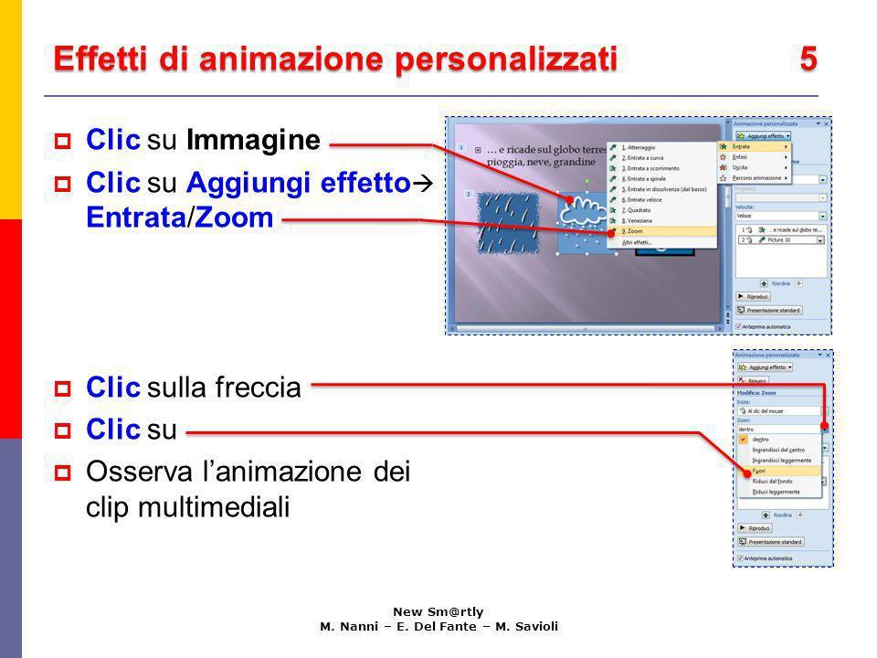 Effetti di animazione personalizzati 5 New Sm@rtly M. Nanni – E. Del Fante – M. Savioli Clic su Immagine Clic su Aggiungi effetto Entrata/Zoom Clic su