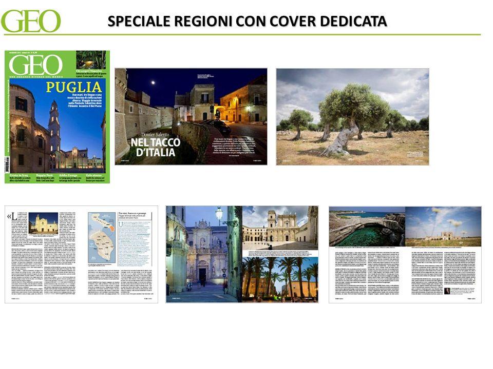 La redazione di Geo realizza su un fascicolo della testata uno speciale interno di 14 pagine dedicato ad una specifica Regione e al suo patrimonio culturale e territoriale.