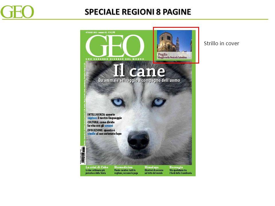 In alternativa la redazione di Geo realizza su un fascicolo della testata uno speciale interno di 8 pagine dedicato ad una specifica Regione e al suo patrimonio culturale e territoriale.