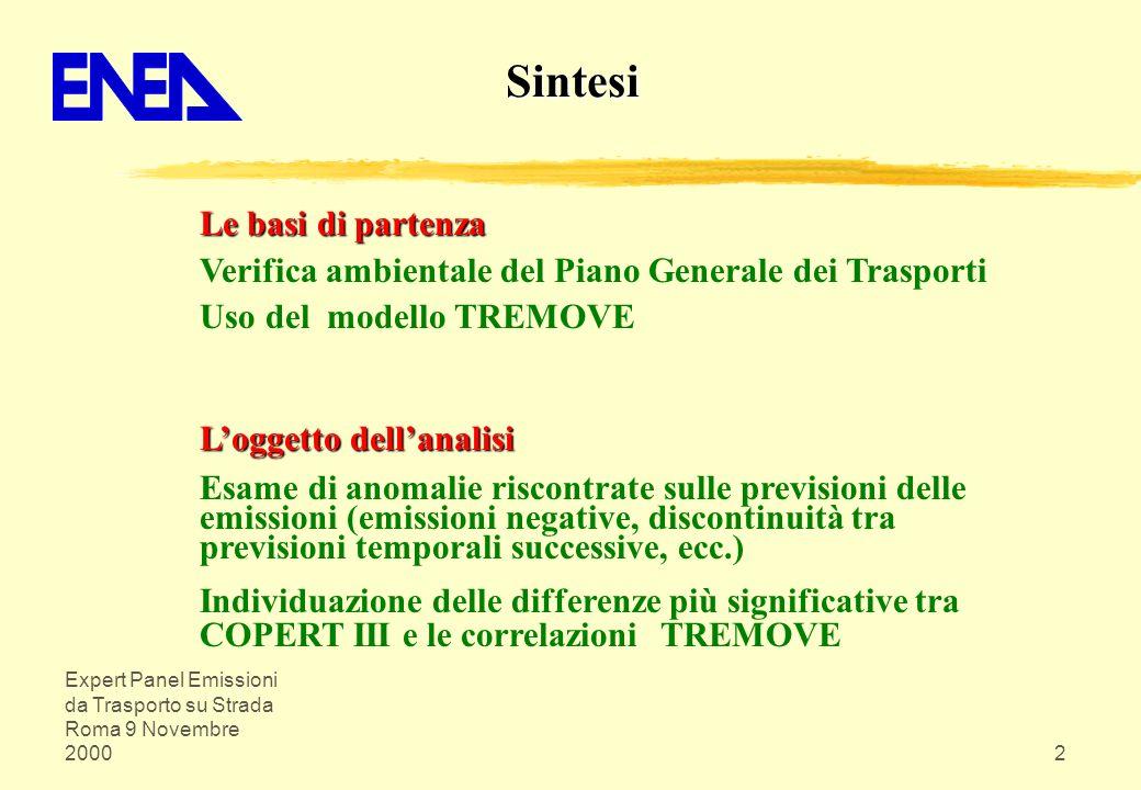 Expert Panel Emissioni da Trasporto su Strada Roma 9 Novembre 20002 Le basi di partenza Verifica ambientale del Piano Generale dei Trasporti Uso del m