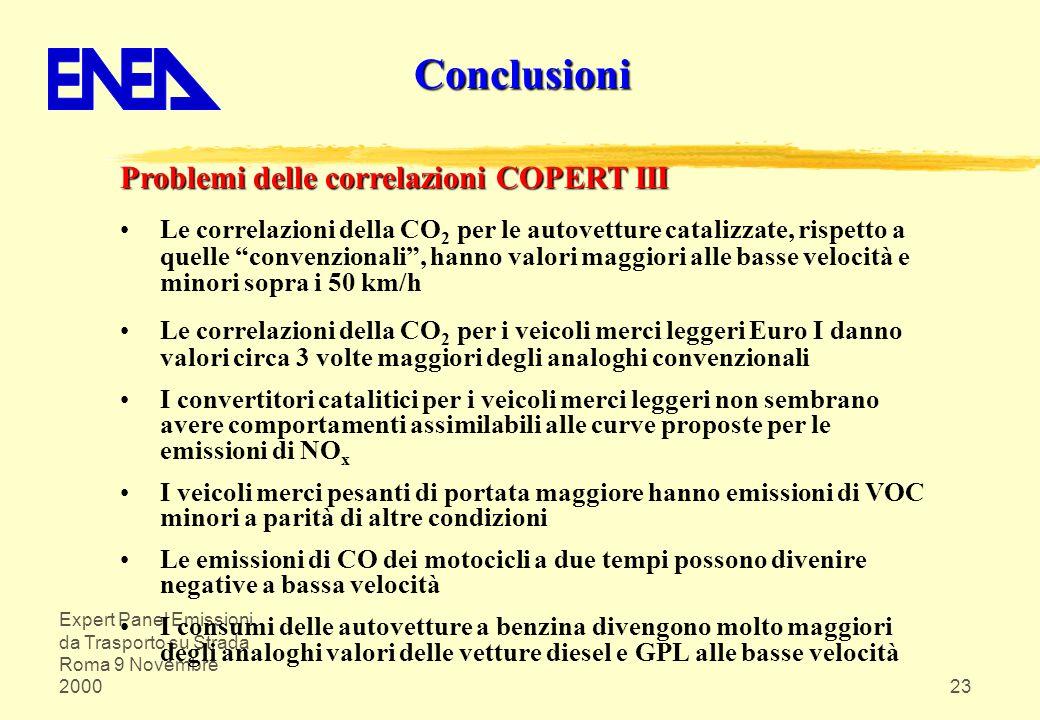 Expert Panel Emissioni da Trasporto su Strada Roma 9 Novembre 200023 Problemi delle correlazioni COPERT III Le correlazioni della CO 2 per le autovett