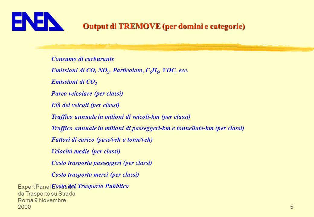 Expert Panel Emissioni da Trasporto su Strada Roma 9 Novembre 20005 Output di TREMOVE (per domini e categorie) Consumo di carburante Emissioni di CO,