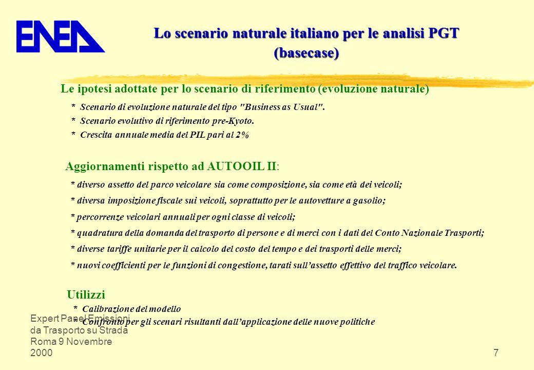 Expert Panel Emissioni da Trasporto su Strada Roma 9 Novembre 20007 Le ipotesi adottate per lo scenario di riferimento (evoluzione naturale) * Scenari