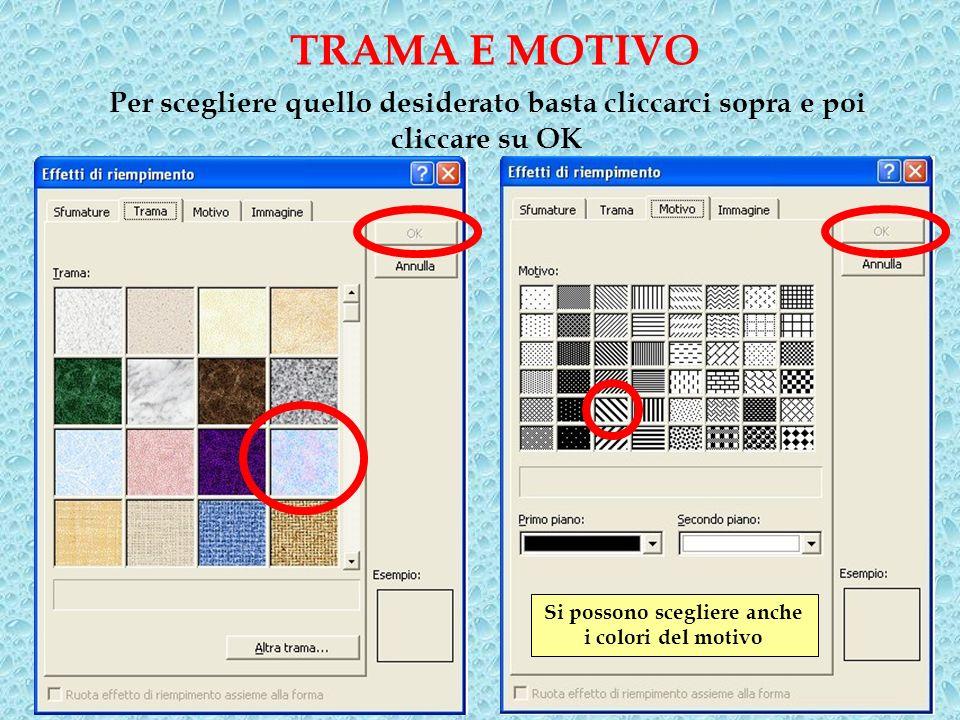 Per scegliere quello desiderato basta cliccarci sopra e poi cliccare su OK TRAMA E MOTIVO Si possono scegliere anche i colori del motivo