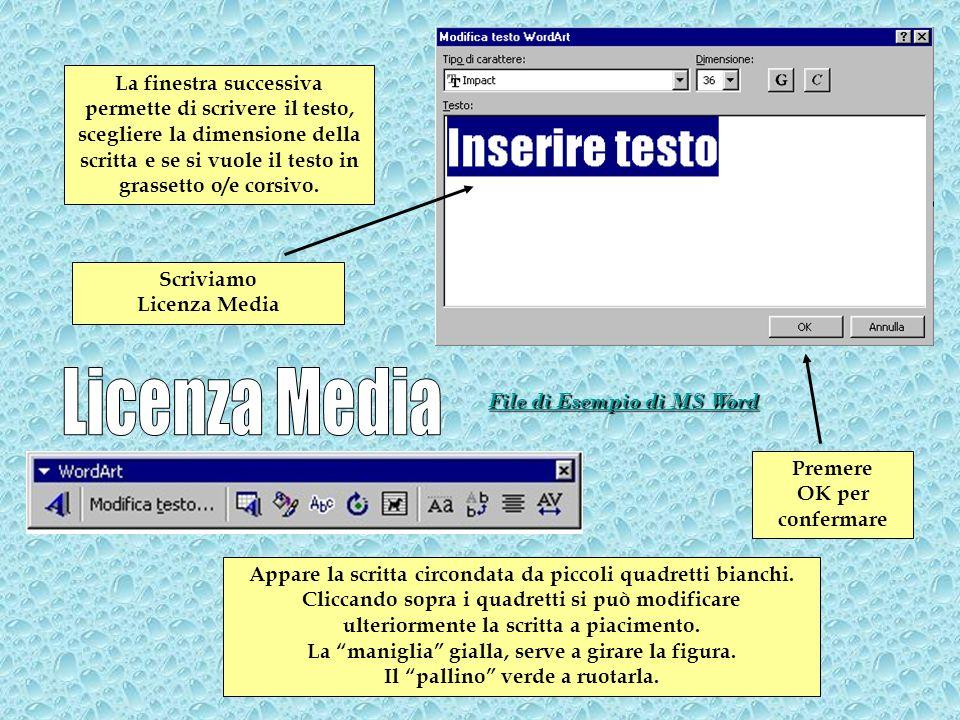 La finestra successiva permette di scrivere il testo, scegliere la dimensione della scritta e se si vuole il testo in grassetto o/e corsivo. Scriviamo