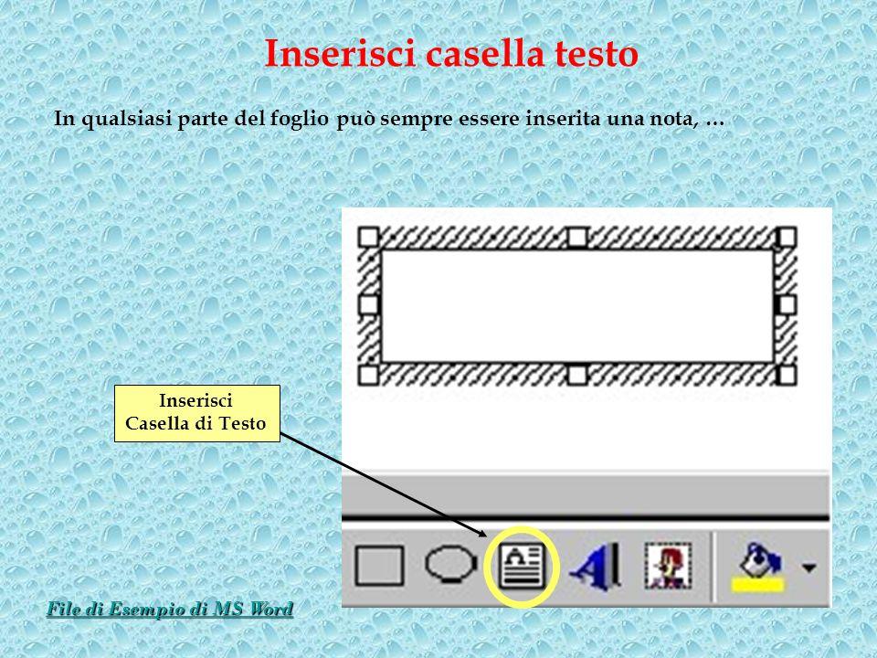 In qualsiasi parte del foglio può sempre essere inserita una nota, … Inserisci casella testo Inserisci Casella di Testo File di Esempio di MS Word Fil