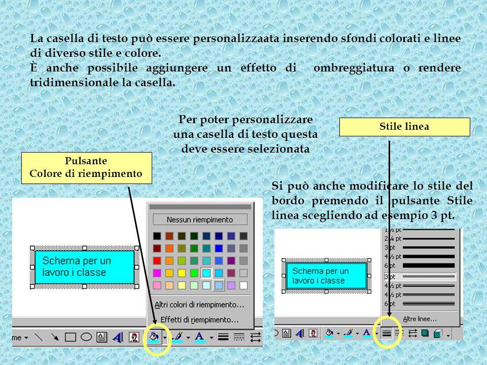 Pulsante Colore di riempimento Si può anche modificare lo stile del bordo premendo il pulsante Stile linea scegliendo ad esempio 3 pt. La casella di t