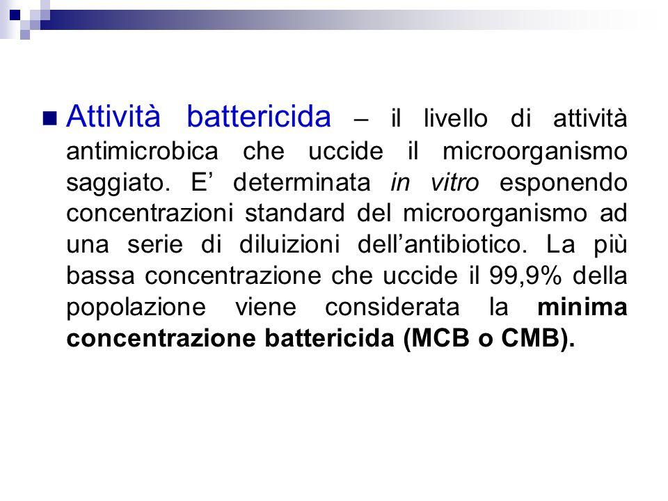 Attività battericida – il livello di attività antimicrobica che uccide il microorganismo saggiato. E determinata in vitro esponendo concentrazioni sta