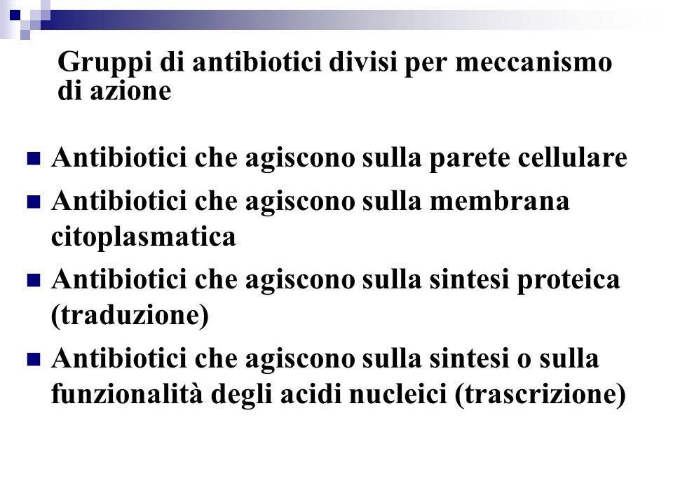 Gruppi di antibiotici divisi per meccanismo di azione Antibiotici che agiscono sulla parete cellulare Antibiotici che agiscono sulla membrana citoplas