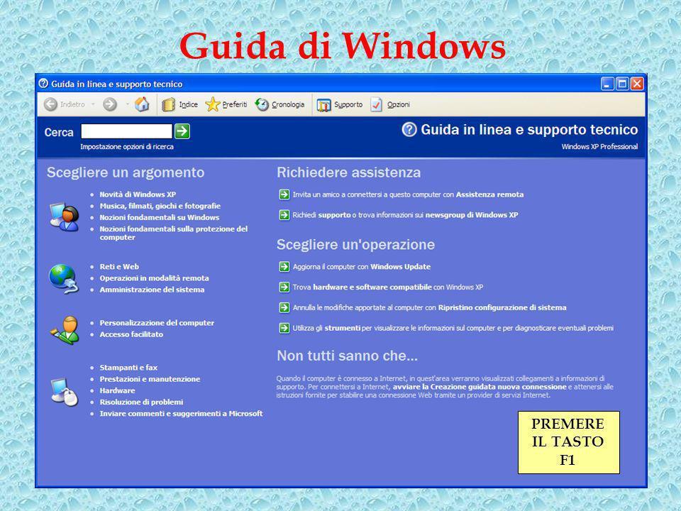 Guida di Windows PREMERE IL TASTO F1